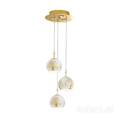 0392.33+3.3.Al.Go 24 Carat Gold, Ø30cm, Height 200cm, 3+3 lights, E27+GU10