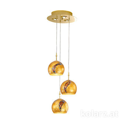 0392.33+3.3.Ki.Au 24 Carat Gold, Ø30cm, Height 200cm, 3+3 lights, E27+GU10