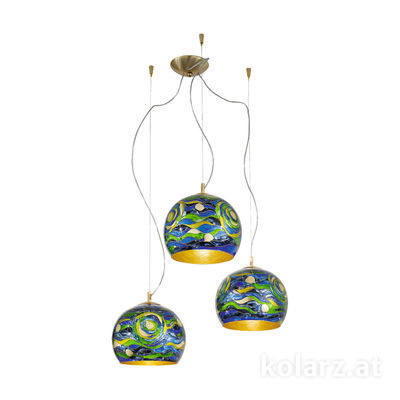 0392.33.3.Aq.BG 24 Carat Gold, Ø100cm, Height 200cm, 3 lights, E27