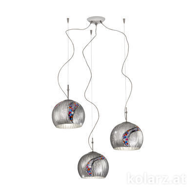 0392.33.5.Ki.Ag Chrome, Ø100cm, Height 200cm, 3 lights, E27