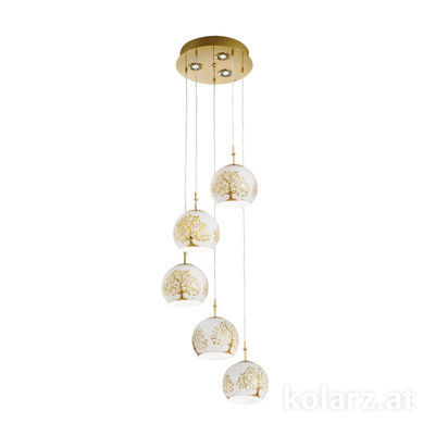 0392.35+3.3.Al.Go 24 Carat Gold, Ø40cm, Height 200cm, 5+3 lights, E27+GU10