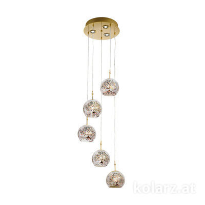 0392.35+3.3.Al.Mt 24 Carat Gold, Ø40cm, Height 200cm, 5+3 lights, E27+GU10