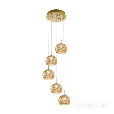 0392.35+3.3.Aq.Ch 24 Carat Gold, Ø40cm, Height 200cm, 5+3 lights, E27+GU10