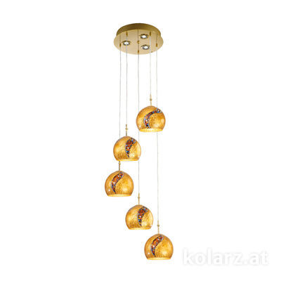0392.35+3.3.Ki.Au 24 Carat Gold, Ø40cm, Height 200cm, 5+3 lights, E27+GU10