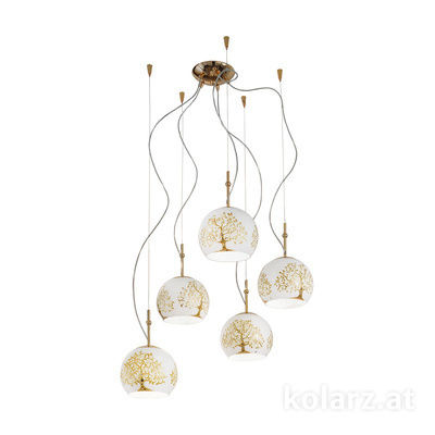 0392.35.3.Al.Go 24 Carat Gold, Ø100cm, Height 200cm, 5 lights, E27