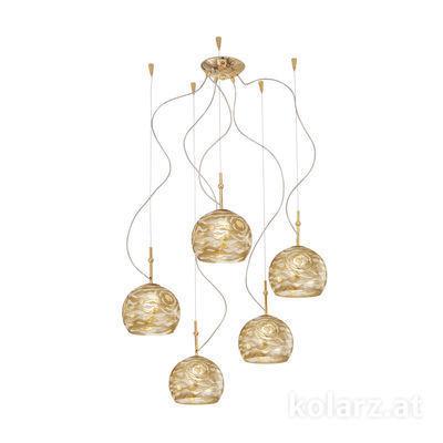 0392.35.3.Aq.Ch 24 Carat Gold, Ø100cm, Height 200cm, 5 lights, E27