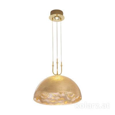 0395.31+1L.3.Aq.Ch 24 Carat Gold, Ø50cm, Height 50cm, Min. height 50cm, Max. height 200cm, 1+1 lights, E27+GU10