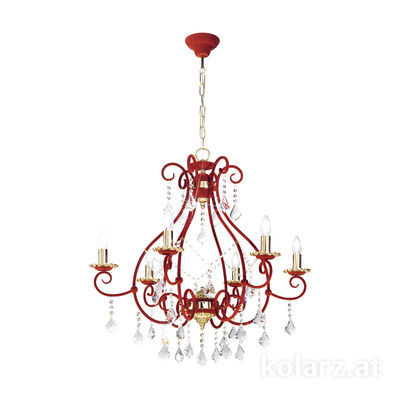 0397.86.3R.KpT 24 Carat Gold, Ø80cm, Height 90cm, Min. height 75cm, Max. height 130cm, 6 lights, E14