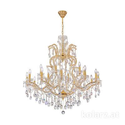 0413.812+6.3.SpT 24 Karat Gold, Ø94cm, Höhe 110cm, Min. Höhe 135cm, Max. Höhe 165cm, 12+6-flammig, E14
