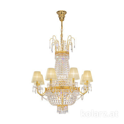 0418.88+8.3.SpT 24 Carat Gold, Ø76cm, Height 100cm, Min. height 110cm, Max. height 130cm, 8+8 lights, E14+E27