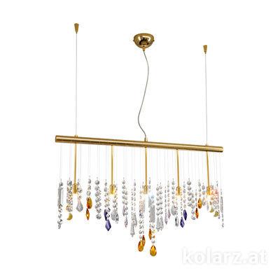 104.85.3.STR NEU 24 Carat Gold, Width 83cm, Height 44cm, Min. height 53cm, Max. height 250cm, 5 lights, G9