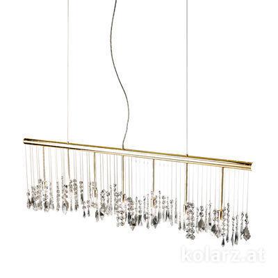 104.87.3 24 Carat Gold, Width 120cm, Height 44cm, Min. height 53cm, Max. height 250cm, 7 lights, G9