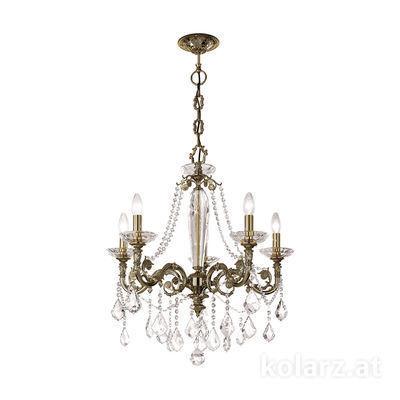 1299.85.4.SpT Antique Brass, Ø65cm, Height 70cm, Min. height 93cm, Max. height 138cm, 5 lights, E14
