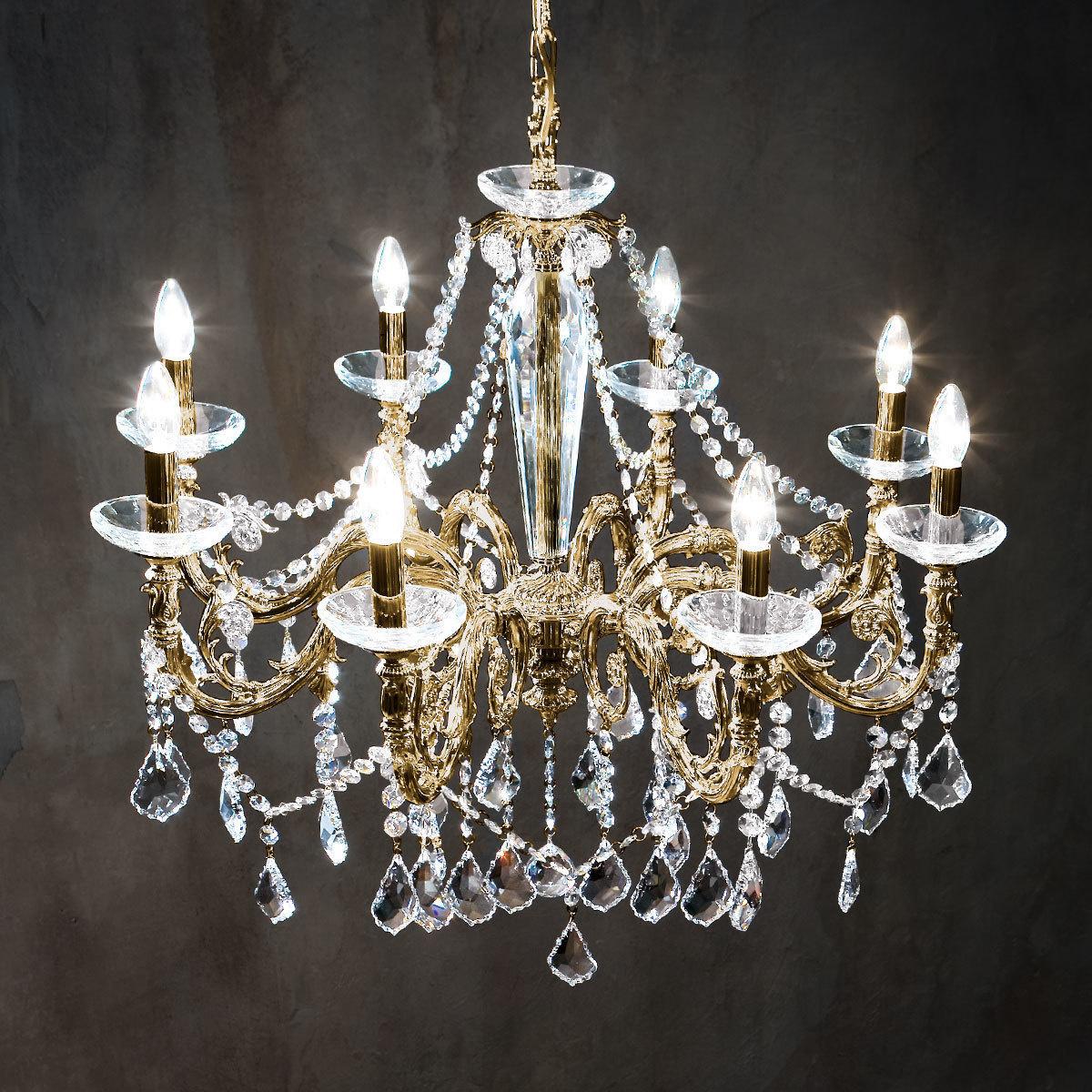 Chandelier Contarini Crystal Antique Brass O85 8 Lights Antique Brass O85cm Height 76cm Min Height 99cm Max Height 144cm 8 Lights E14 Kolarz Shop