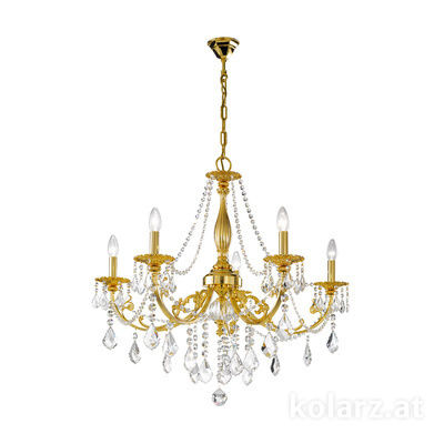1301.85.3.SpT 24 Carat Gold, Ø83cm, Height 80cm, Min. height 100cm, Max. height 150cm, 5 lights, E14