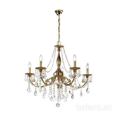 1301.85.4.SpT Antique Brass, Ø83cm, Height 80cm, Min. height 100cm, Max. height 150cm, 5 lights, E14