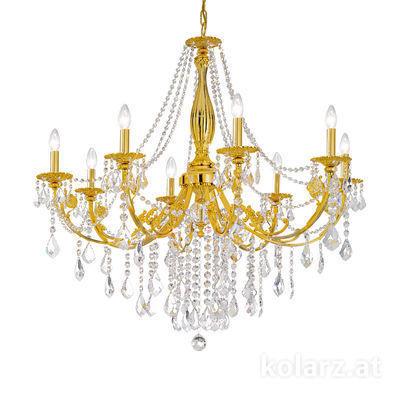 1301.88.3.SpT 24 Carat Gold, Ø101cm, Height 100cm, Min. height 120cm, Max. height 180cm, 8 lights, E14