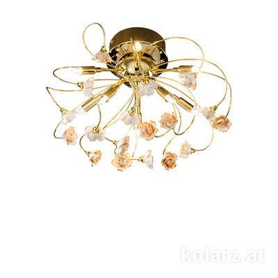 1307.19.3.R1R 24 Carat Gold, Ø50cm, Height 30cm, 9 lights, G9