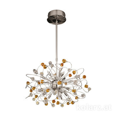 1307.818.3.VR01/04 24 Carat Gold, Ø65cm, Height 51cm, Min. height 100cm, Max. height 140cm, 18 lights, G9