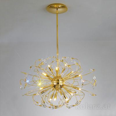 1307.818.3 24 Carat Gold, Ø65cm, Height 51cm, Min. height 100cm, Max. height 140cm, 18 lights, G9