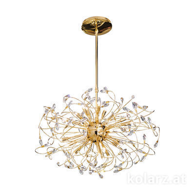 1307.824.3 24 Carat Gold, Ø80cm, Height 52cm, Min. height 104cm, Max. height 144cm, 24 lights, G9