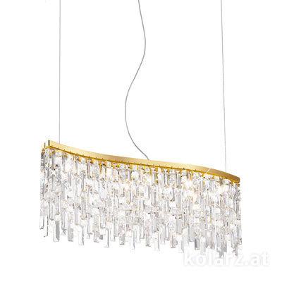 1344.85.3.P1.KpT 24 Carat Gold, Length 37cm, Width 80cm, Height 20cm, Min. height 27cm, Max. height 250cm, 5 lights, G9