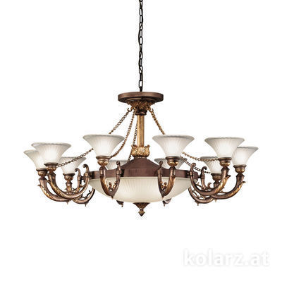 211.810+4 Rust Gold, Ø124cm, Height 68cm, Min. height 88cm, Max. height 233cm, 10+4 lights, E14+E27