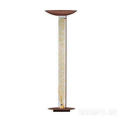 2252.41.Co.Al.Go Corten, Length 60cm, Width 26cm, Height 185cm, 4 lights, LED dimmable
