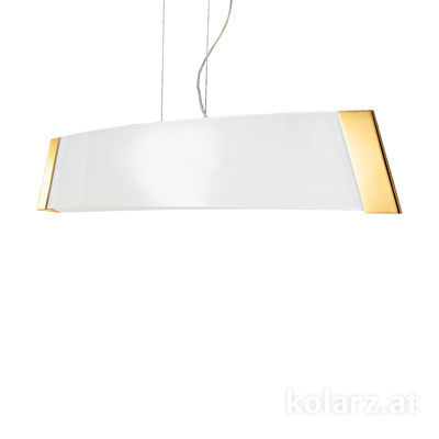 2295.31L.3.W 24 Carat Gold, White, Width 90cm, Height 24cm, Min. height 30cm, Max. height 259cm, 1 light, LED dimmable