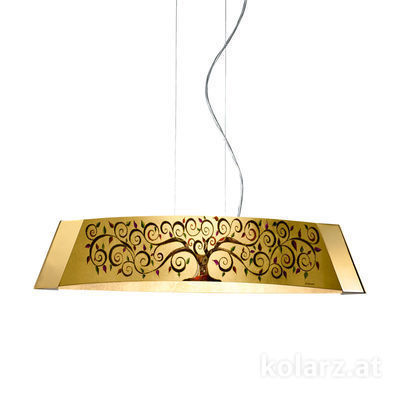 2295.31L.3/al99 24 Carat Gold, Width 90cm, Height 24cm, Min. height 30cm, Max. height 259cm, 1 light, LED dimmable