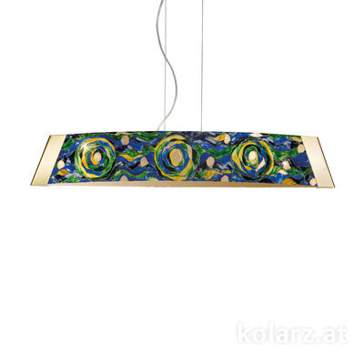 2295.31L.3/aq70 24 Carat Gold, Width 90cm, Height 24cm, Min. height 30cm, Max. height 259cm, 1 light, LED dimmable