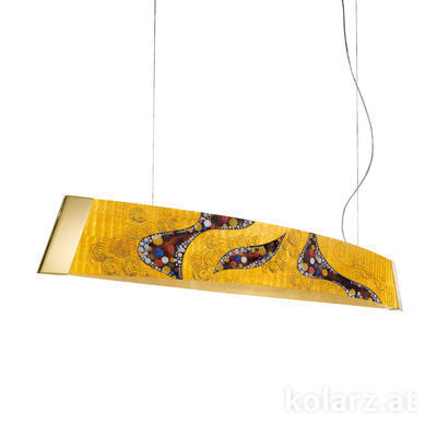 2295.32.3/ki30 24 Carat Gold, Width 130cm, Height 24cm, Min. height 30cm, Max. height 259cm, 2 lights, LED dimmable