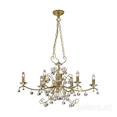 234.88O.4 Antique Brass, Ø48cm, Length 97cm, Height 65cm, Min. height 85cm, Max. height 130cm, 8 lights, E14