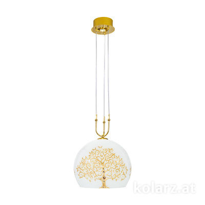2392.31+1L.3.Al.Go 24 Carat Gold, Ø40cm, Min. height 60cm, Max. height 200cm, 1+1 lights, E27+LED