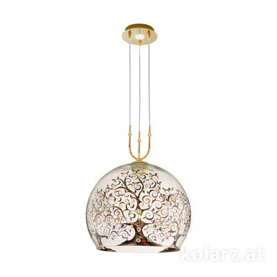 2392.31+1L.3.Al.Mt 24 Carat Gold, Ø40cm, Min. height 60cm, Max. height 200cm, 1+1 lights, E27+LED