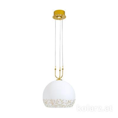 2392.31+1L.3.Li.WA 24 Carat Gold, Ø40cm, Min. height 60cm, Max. height 200cm, 1+1 lights, E27+LED