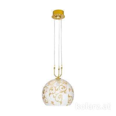 2392.31+1L.3.Tc.Au 24 Carat Gold, Ø40cm, Min. height 60cm, Max. height 200cm, 1+1 lights, E27+LED
