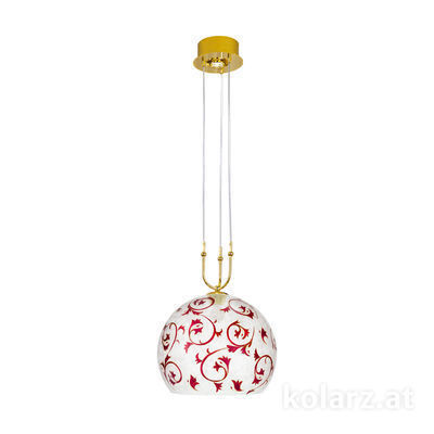 2392.31+1L.3.Tc.R 24 Carat Gold, Ø40cm, Min. height 60cm, Max. height 200cm, 1+1 lights, E27+LED