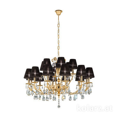 3003.812+6.3.KoT 24 Carat Gold, Ø100cm, Height 60cm, Min. height 80cm, Max. height 120cm, 18 lights, E14