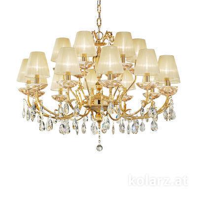 3003.812+6.3.KoT/aq2 24 Carat Gold, Ø100cm, Height 60cm, Min. height 80cm, Max. height 120cm, 18 lights, E14