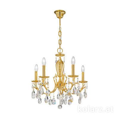 3003.85.3.KoT or 24 carats, Ø60cm, Hauteur 55cm, Hauteur min. 75cm, Hauteur max. 105cm, 5 lumières, E14