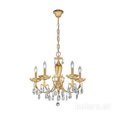 3003.85.3.KoT/aq21 24 Karat Gold, Ø60cm, Höhe 55cm, Min. Höhe 75cm, Max. Höhe 105cm, 5-flammig, E14