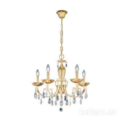 3003.85.3.KoT/me30 24 Carat Gold, Ø60cm, Height 55cm, Min. height 75cm, Max. height 105cm, 5 lights, E14