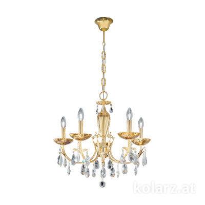 3003.85.3.KoT/me30 24 Karat Gold, Ø60cm, Höhe 55cm, Min. Höhe 75cm, Max. Höhe 105cm, 5-flammig, E14