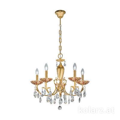 3003.85.3.KoT/tc40 24 Carat Gold, Ø60cm, Height 55cm, Min. height 75cm, Max. height 105cm, 5 lights, E14