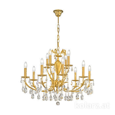 3003.88+4.3.KoT 24 Carat Gold, Ø80cm, Height 60cm, Min. height 80cm, Max. height 120cm, 12 lights, E14