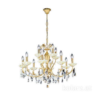 3003.88+4.3.KoT/al30 24 Carat Gold, Ø80cm, Height 60cm, Min. height 80cm, Max. height 120cm, 12 lights, E14