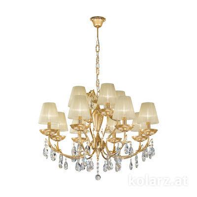 3003.88+4.3.KoT/aq21 24 Carat Gold, Ø80cm, Height 60cm, Min. height 80cm, Max. height 120cm, 12 lights, E14