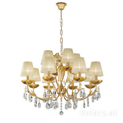 3003.88+4.3.KoT/ki30 24 Carat Gold, Ø80cm, Height 60cm, Min. height 80cm, Max. height 120cm, 12 lights, E14