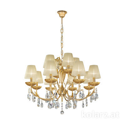 3003.88+4.3.KoT/li30 24 Carat Gold, Ø80cm, Height 60cm, Min. height 80cm, Max. height 120cm, 12 lights, E14